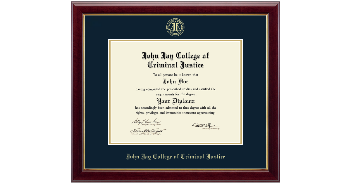 John Jay College Of Criminal Justice Gold Embossed Diploma