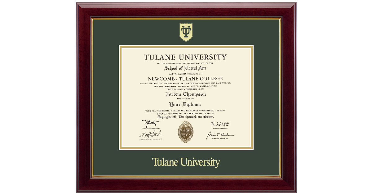 Tulane University Gold Embossed Diploma Frame In Gallery