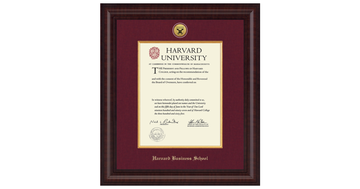 Harvard University Presidential Gold Engraved Diploma