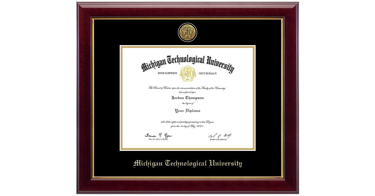 Michigan Technological University Gold Engraved Medallion