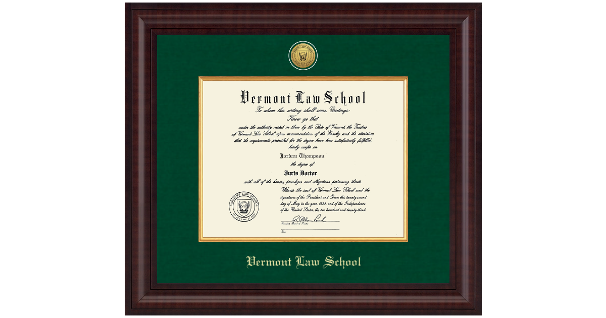 Vermont Law School Diploma Frame