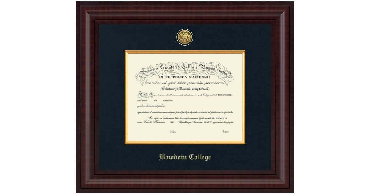 Bowdoin College Presidential Gold Engraved Diploma Frame