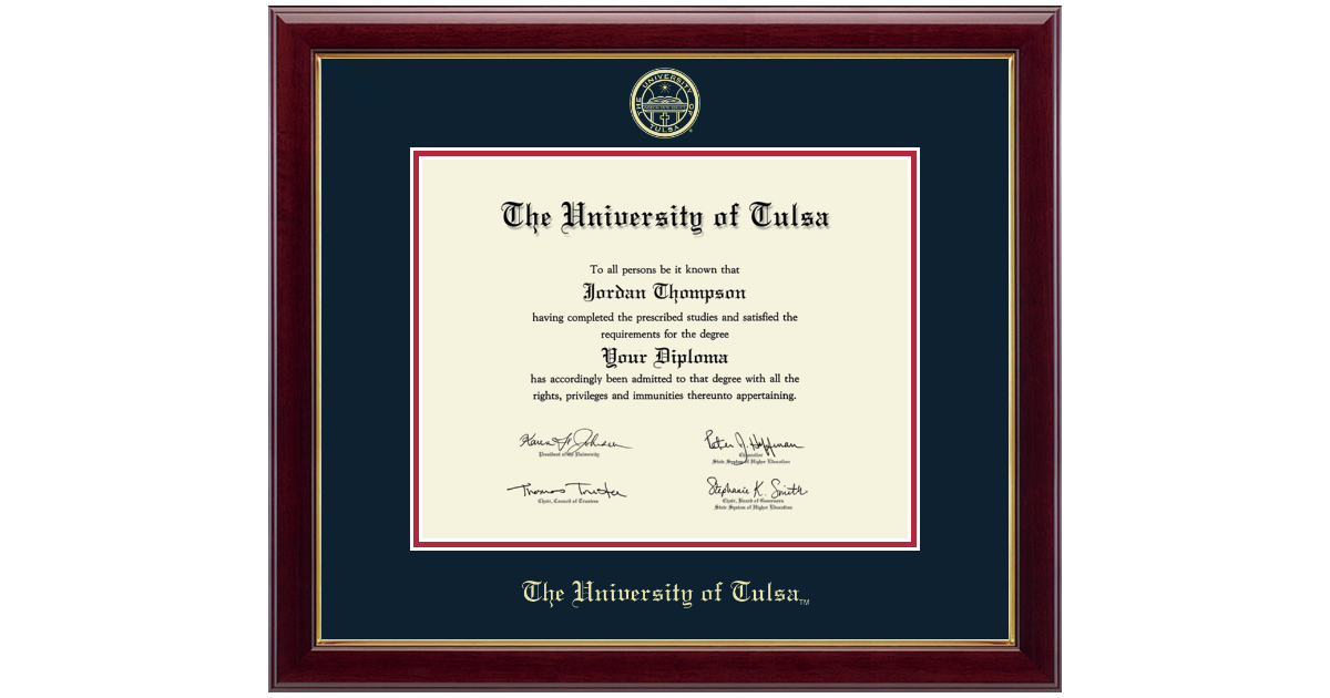 The University Of Tulsa Gold Embossed Diploma Frame In