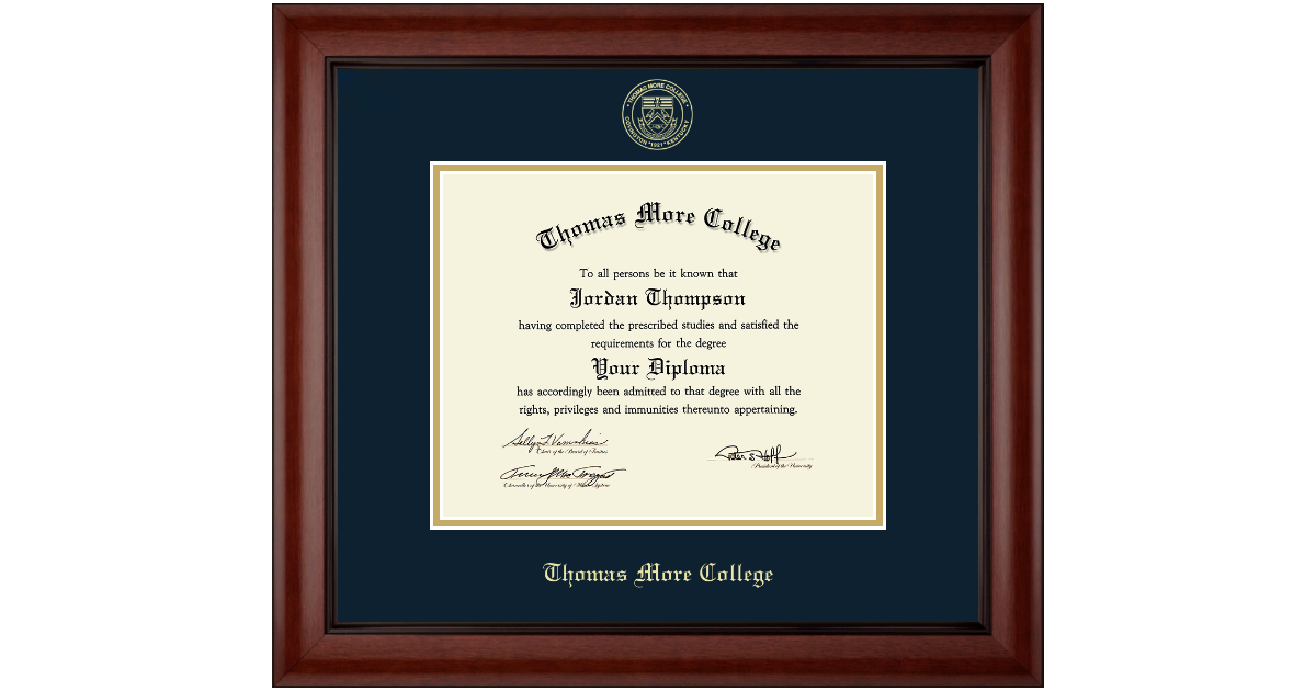 Thomas More College Gold Embossed Diploma Frame In
