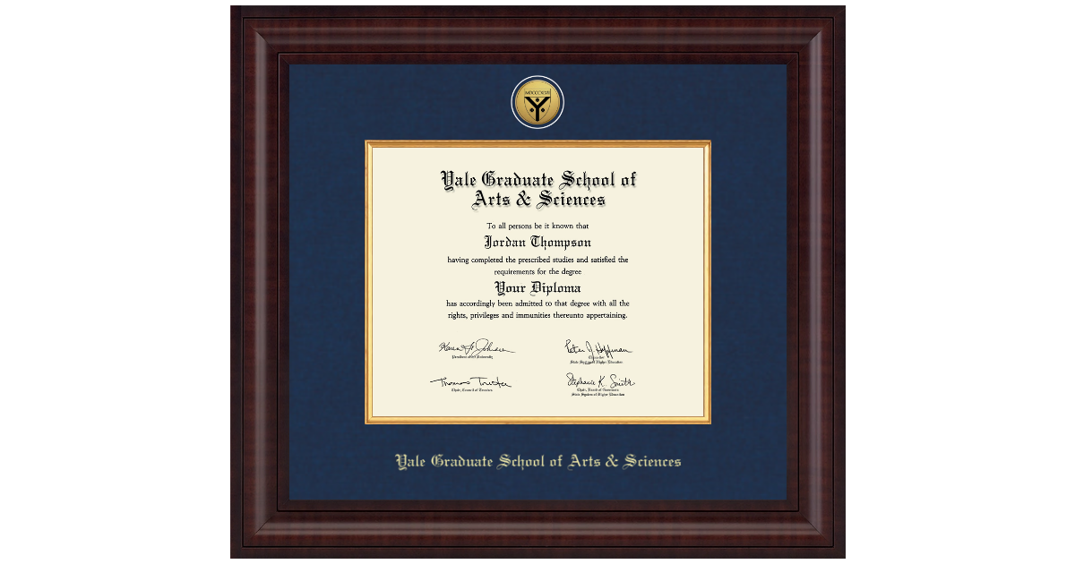 Yale University Presidential Gold Engraved Diploma Frame