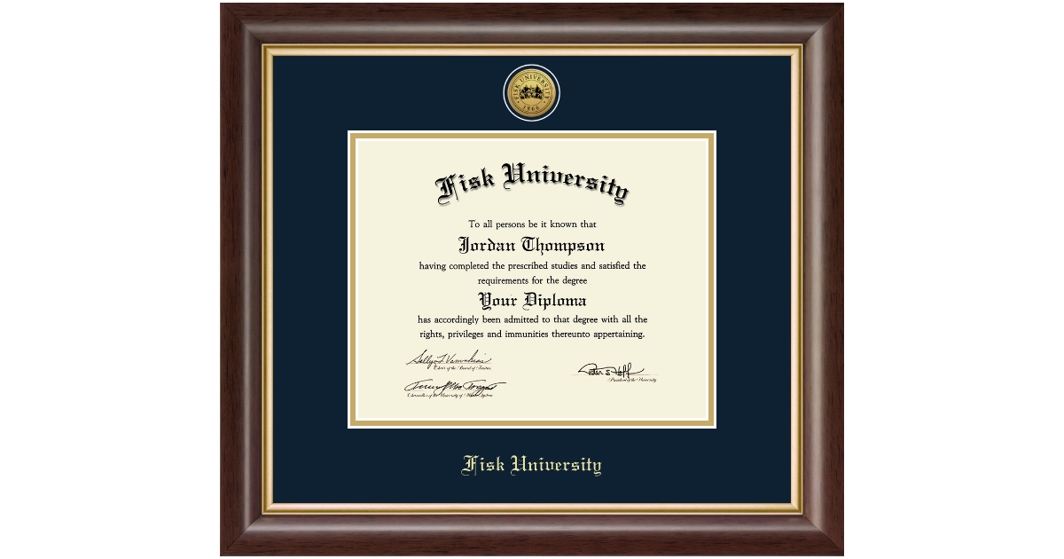 Fisk University Gold Engraved Medallion Diploma Frame In