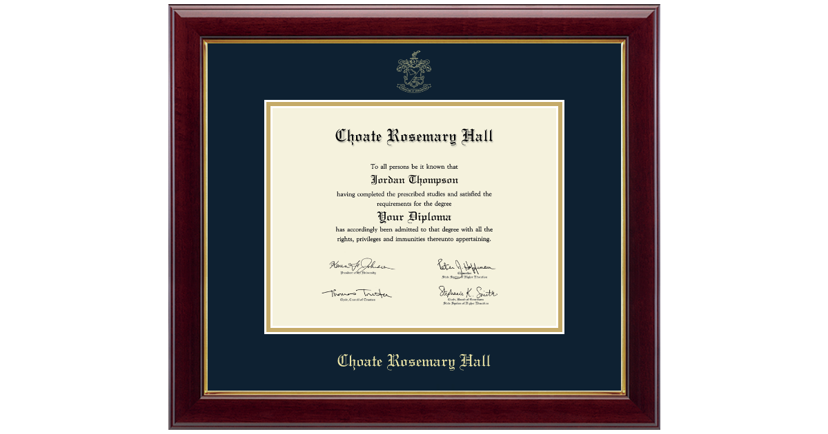 Choate Rosemary Hall Gold Embossed Diploma Frame In
