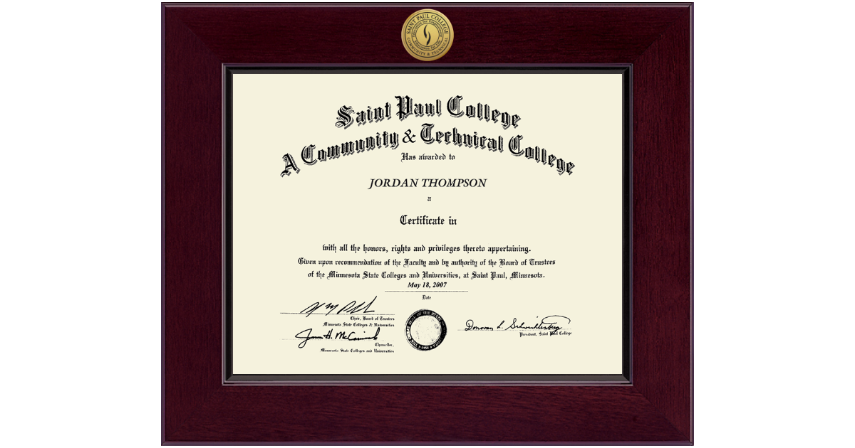 Saint Paul College Century Gold Engraved Diploma Frame In Cordova