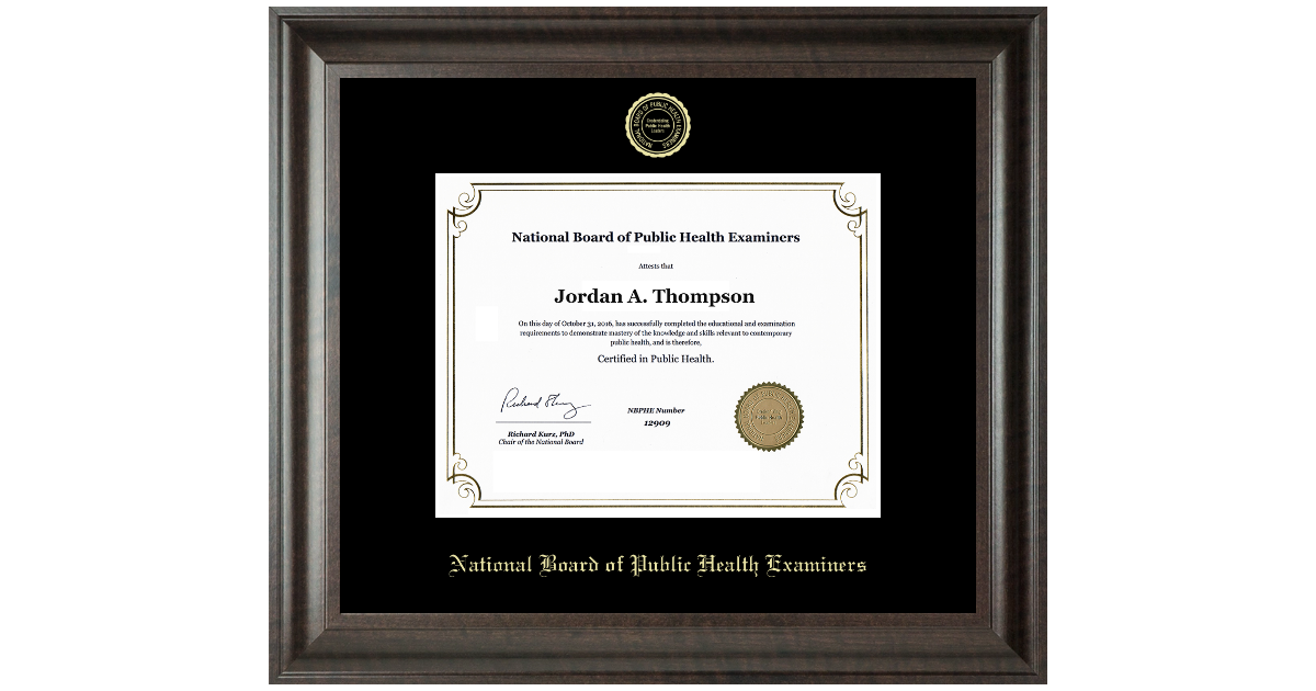 National Board Of Public Health Examiners Gold Embossed Certificate