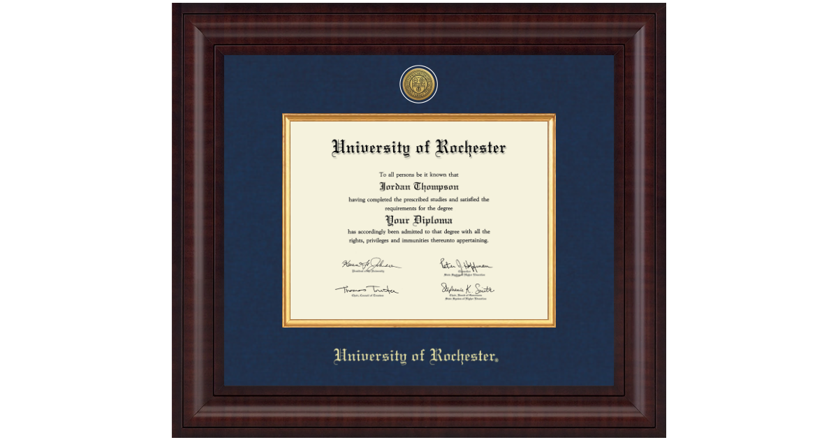 University Of Rochester Presidential Gold Engraved Diploma