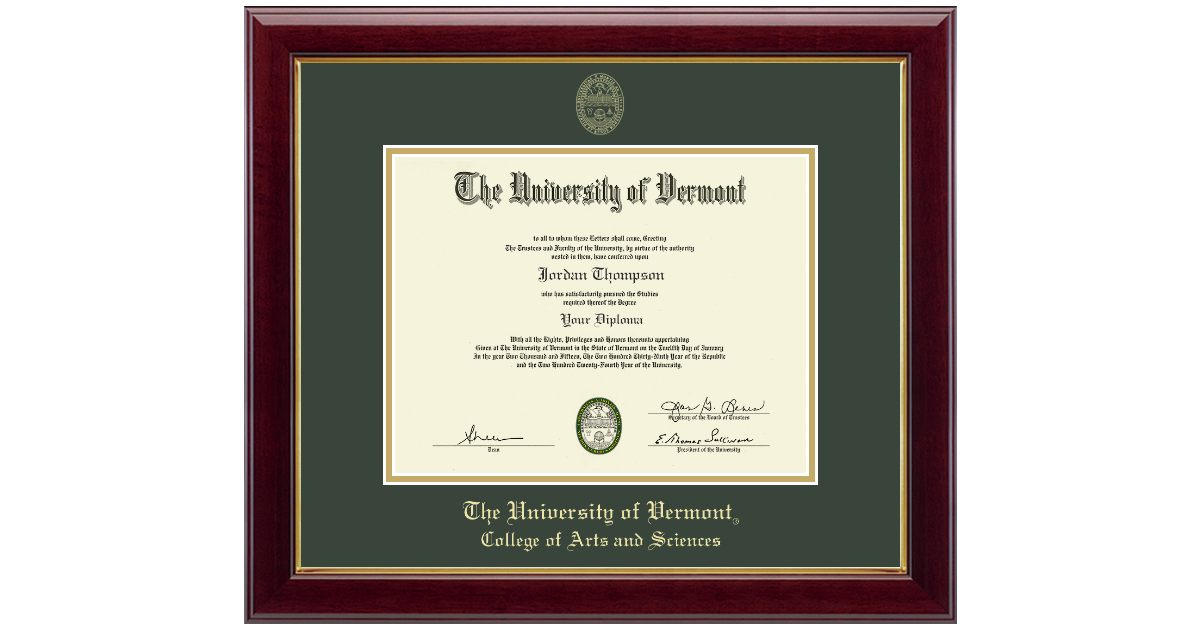 The University of Vermont Gold Embossed Diploma Frame in Gallery ...