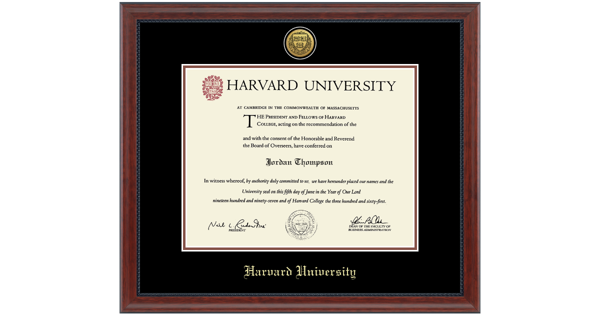 Harvard University Gold Engraved Medallion Diploma Frame