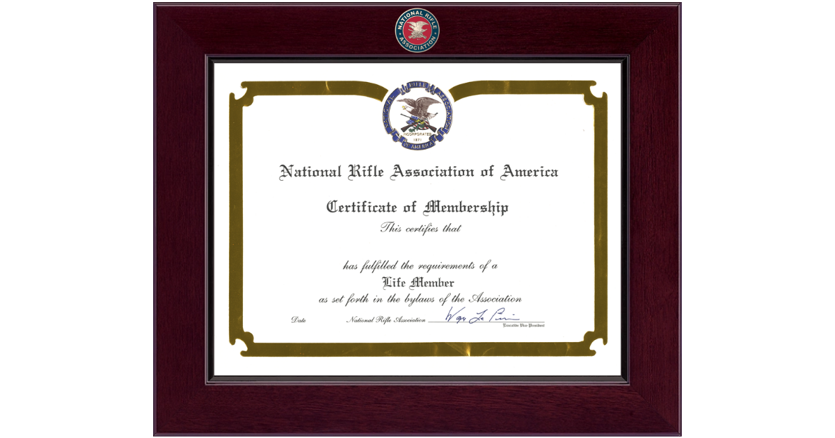 National Rifle Association of America Certificate Frame