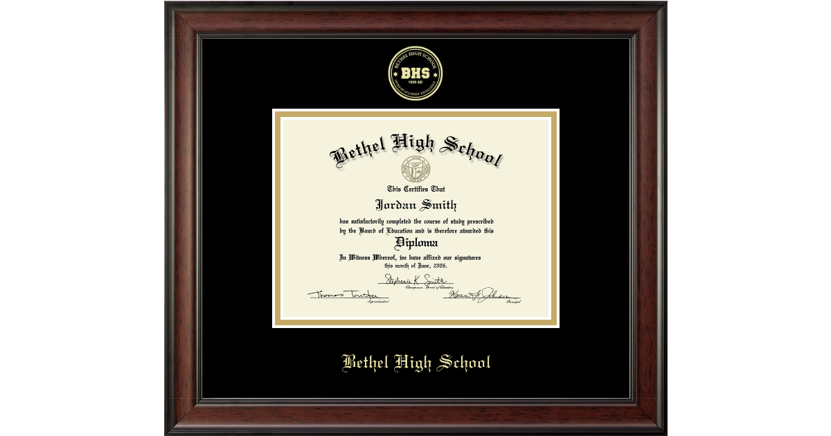 Bethel High School In Connecticut Gold Embossed Diploma