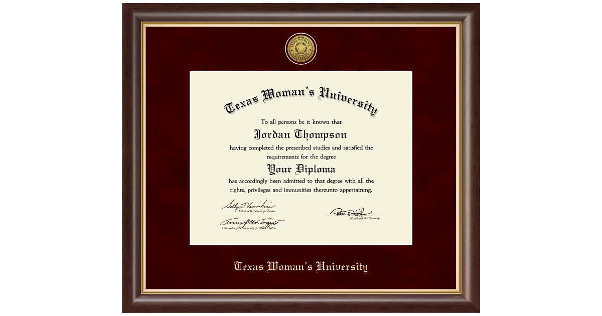 Texas Woman S University Gold Engraved Medallion Diploma