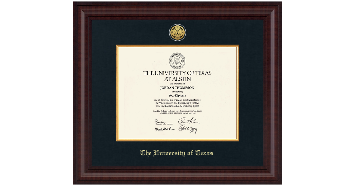 The University of Texas at Austin Presidential Gold Engraved Diploma ...