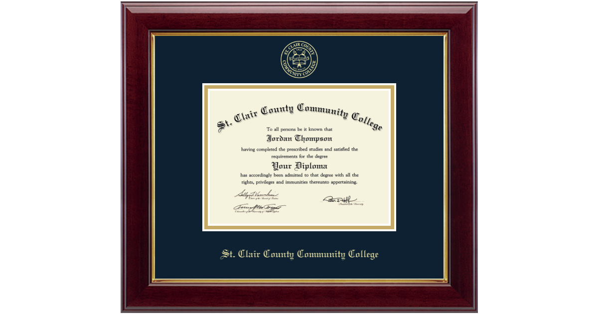 St Clair County Community College Gold Embossed Diploma