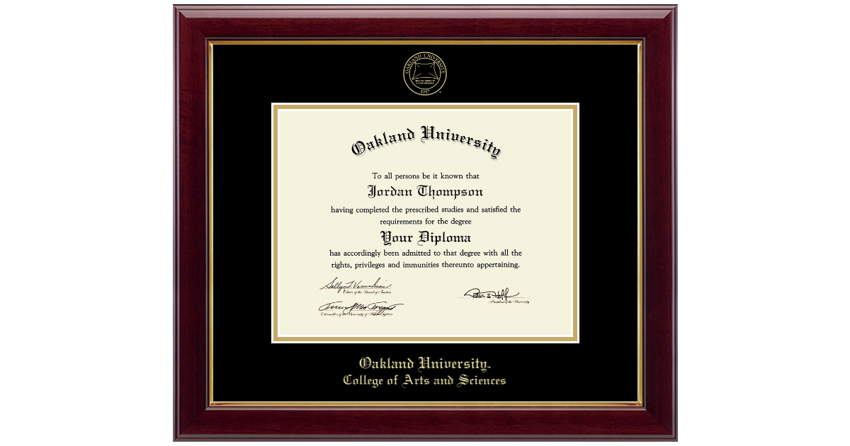 Oakland University Gold Embossed Diploma Frame In Gallery