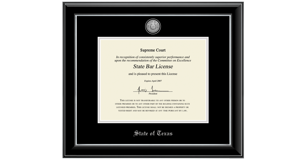 State of Texas Silver Engraved Medallion Certificate Frame in Onyx ...