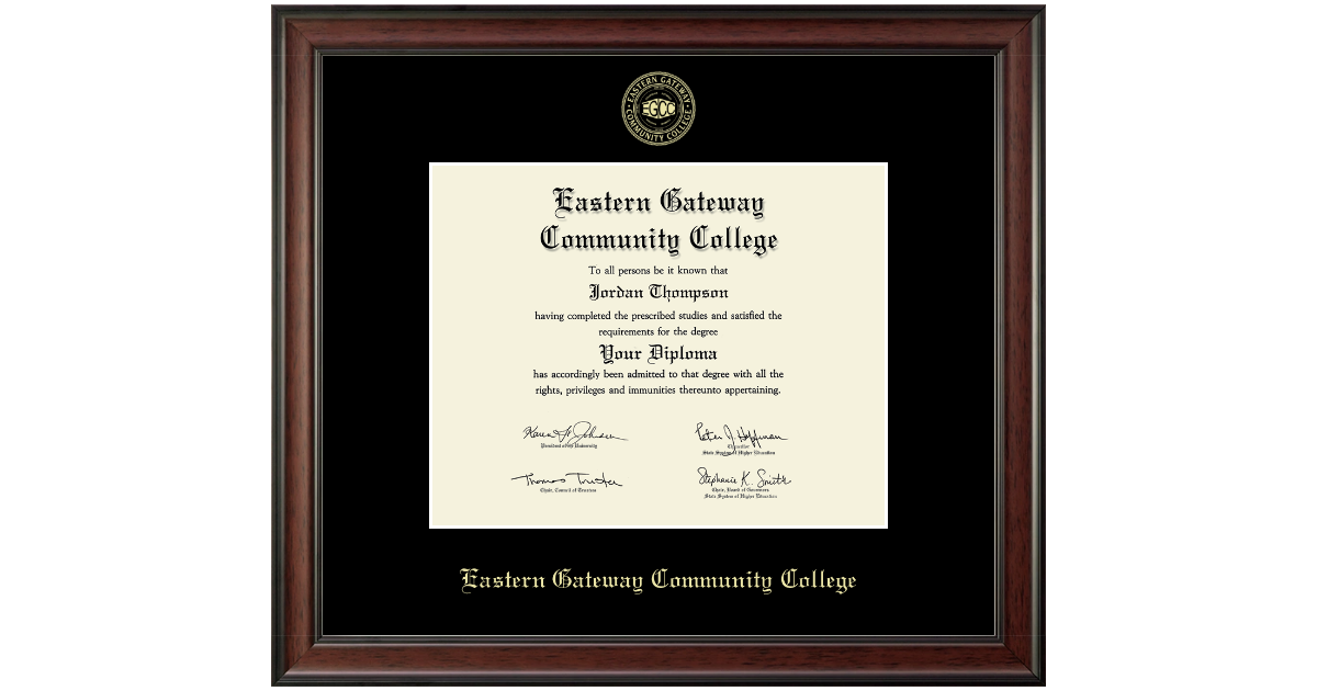Eastern Gateway Community College Gold Embossed Diploma