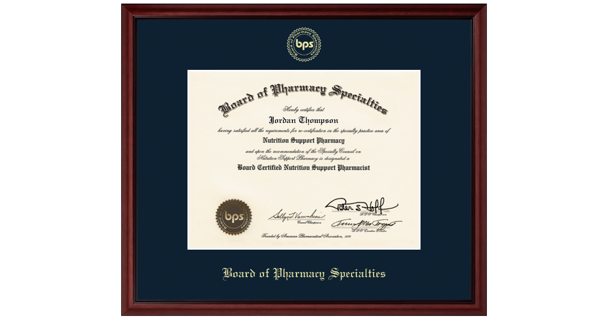 Board of Pharmacy Specialties Gold Embossed Certificate Frame in ...