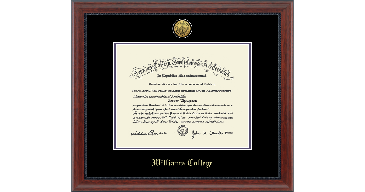 Williams College Gold Engraved Medallion Diploma Frame In