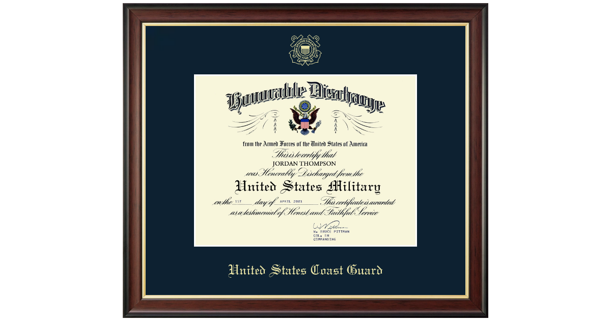 United States Coast Guard Honorable Discharge Certificate Frame In