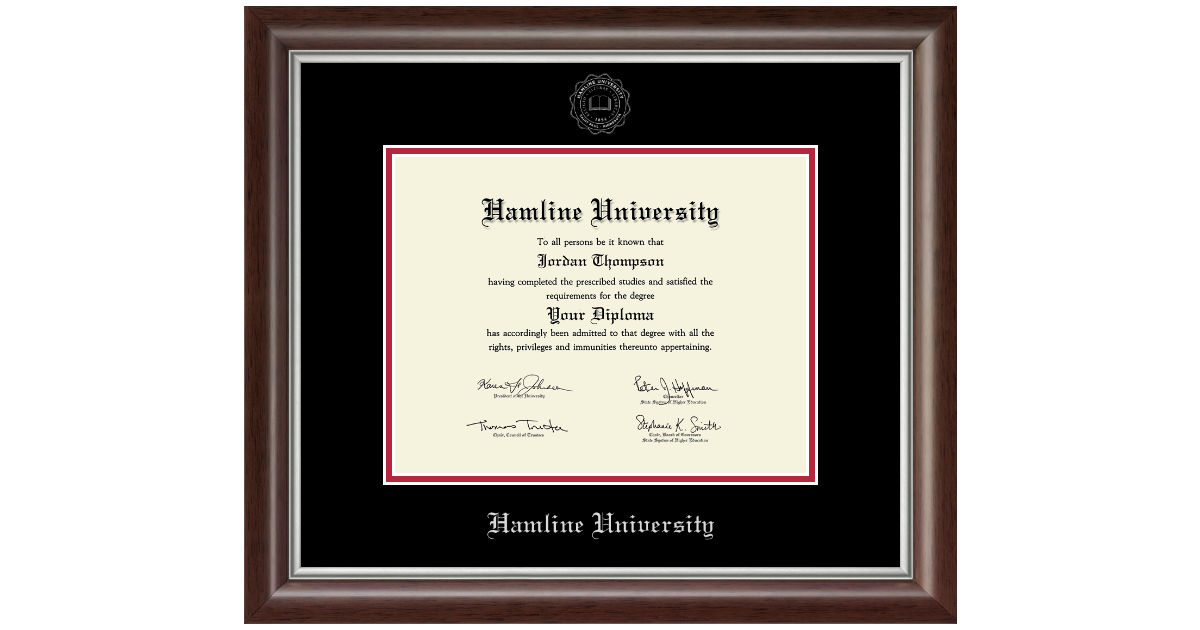 Hamline University Silver Embossed Diploma Frame In