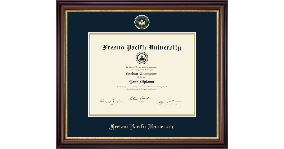 Fresno Pacific University Gold Embossed Diploma Frame In