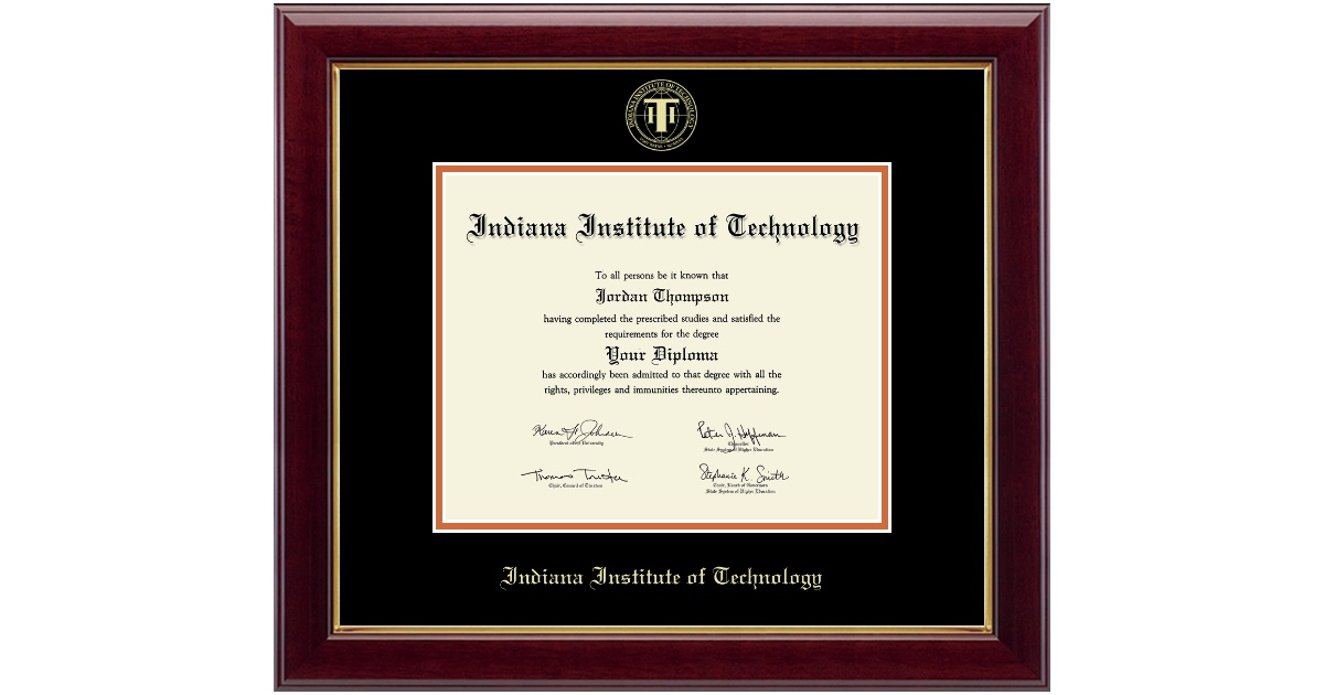 Indiana Institute Of Technology Gold Embossed Diploma