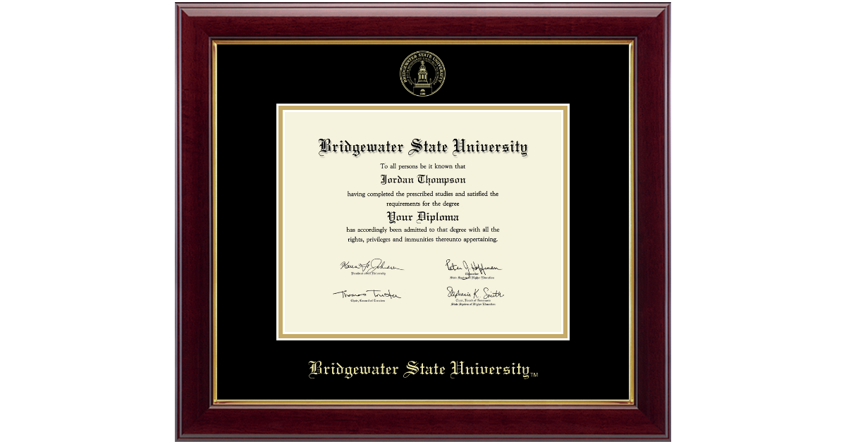Bridgewater State University Gold Embossed Diploma Frame