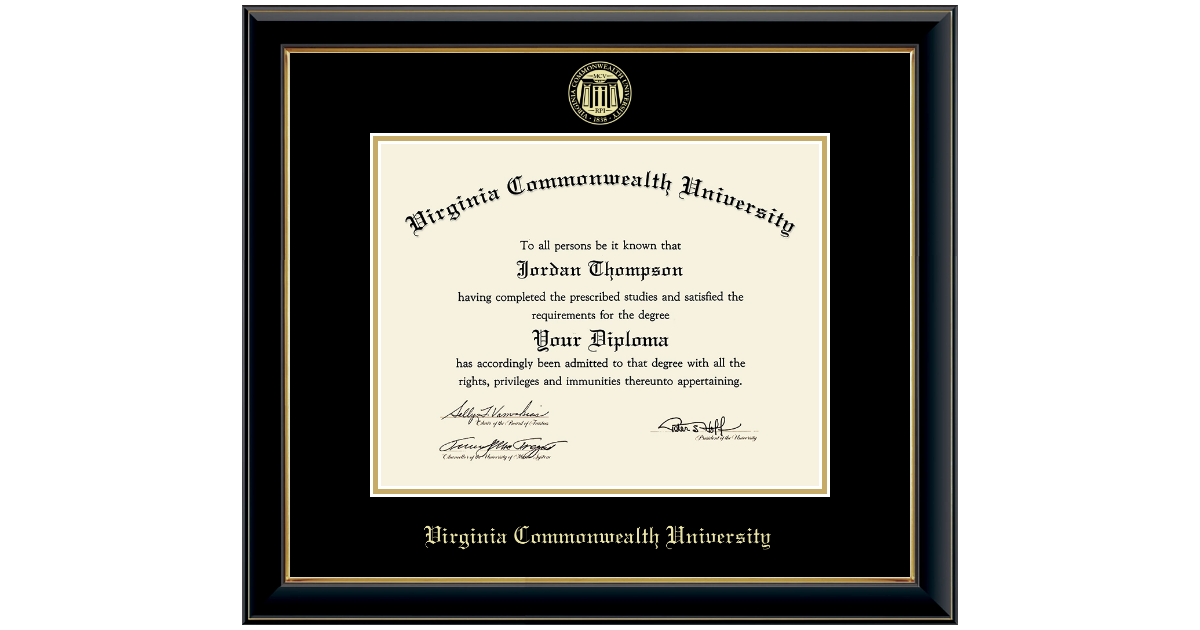 Virginia Commonwealth University Gold Embossed Diploma