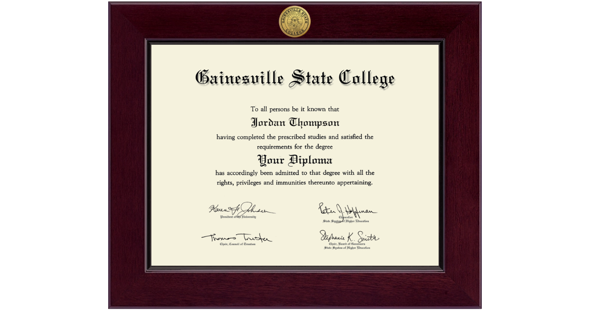 Gainesville State College Century Gold Engraved Diploma Frame in ...