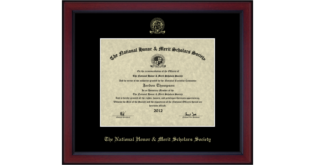 National Honor Amp Merit Scholars Society Gold Embossed