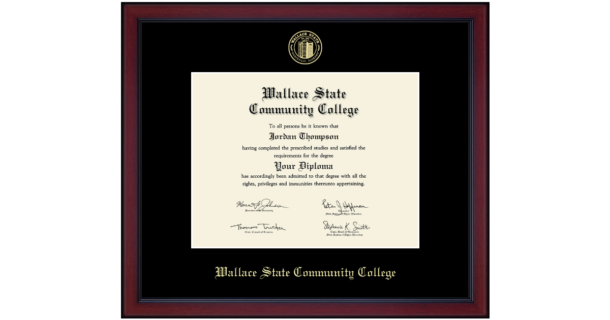 Wallace State Community College Gold Embossed Diploma
