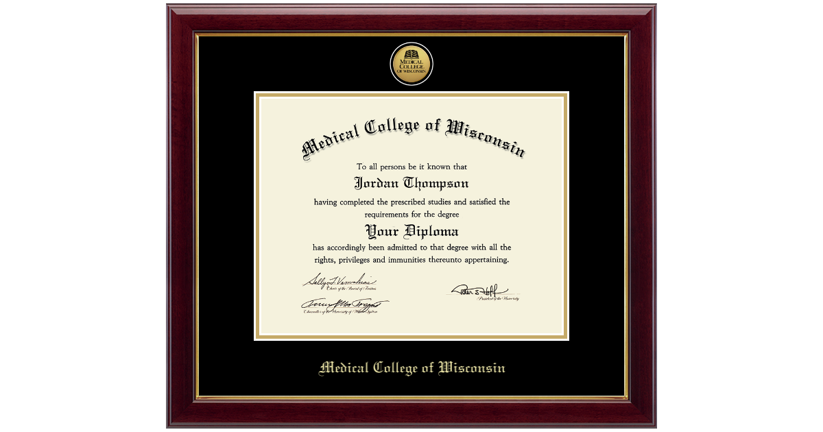 Medical College of Wisconsin Diploma Frame