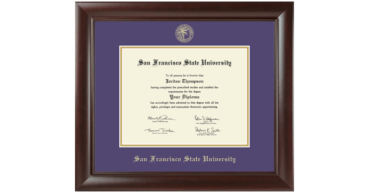 San Francisco State University Gold Embossed Diploma Frame in ...