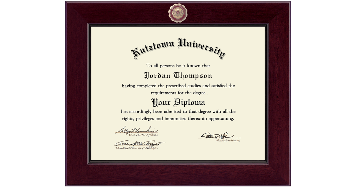 Kutztown University Century Masterpiece Diploma Frame In