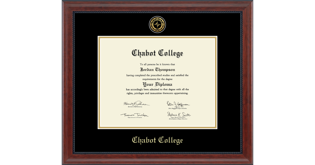 Chabot College Gold Engraved Medallion Diploma Frame In