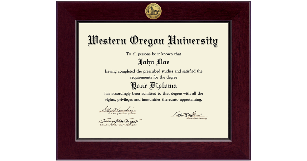 Western Oregon University Century Gold Engraved Diploma