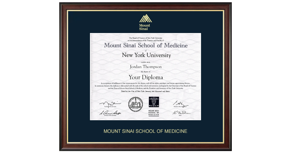 Mount Sinai School Of Medicine Gold Embossed Diploma Frame