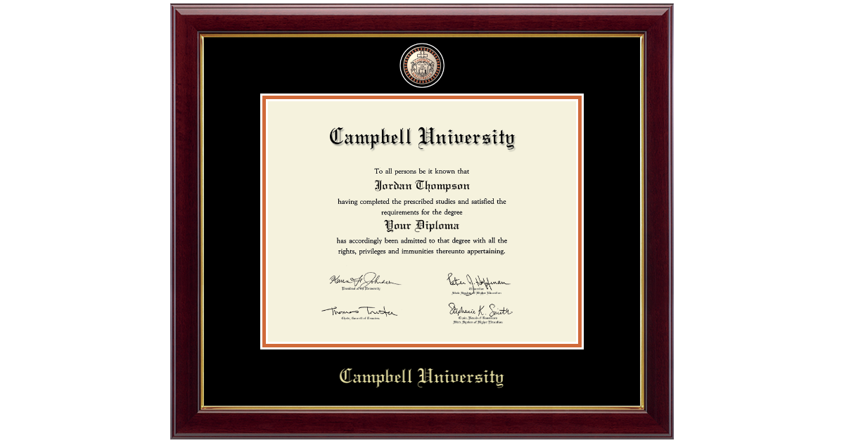 Campbell University Masterpiece Medallion Diploma Frame In