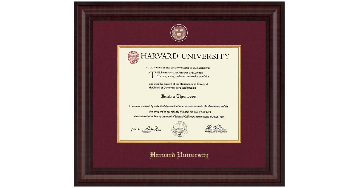 Harvard University Presidential Masterpiece Diploma Frame in Premier ...