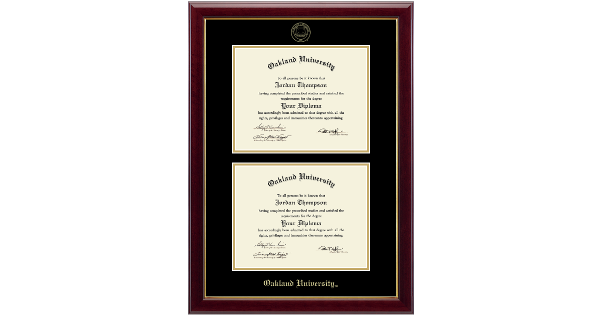 Oakland University Double Diploma Frame In Gallery Item