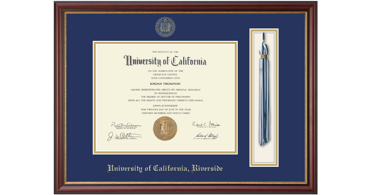 University Of California Riverside Tassel Edition Diploma