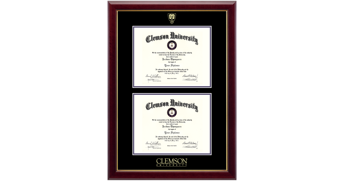 Clemson University Shield Double Diploma Frame In Gallery