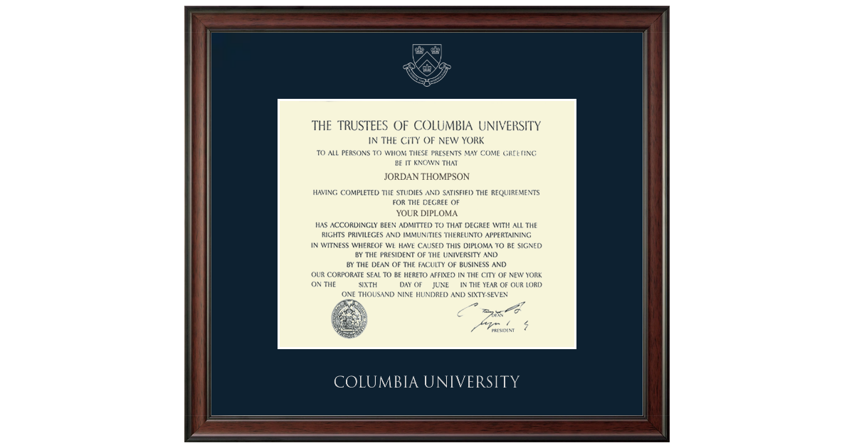 Columbia University Medical Center Silver Embossed Diploma