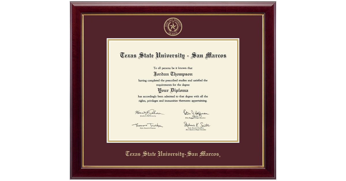 Texas State University San Marcos Gold Embossed Diploma