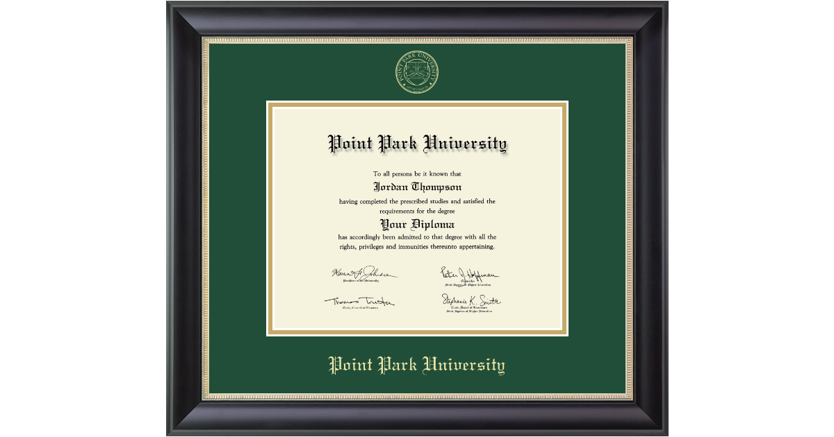Point Park University Gold Embossed Diploma Frame In Noir