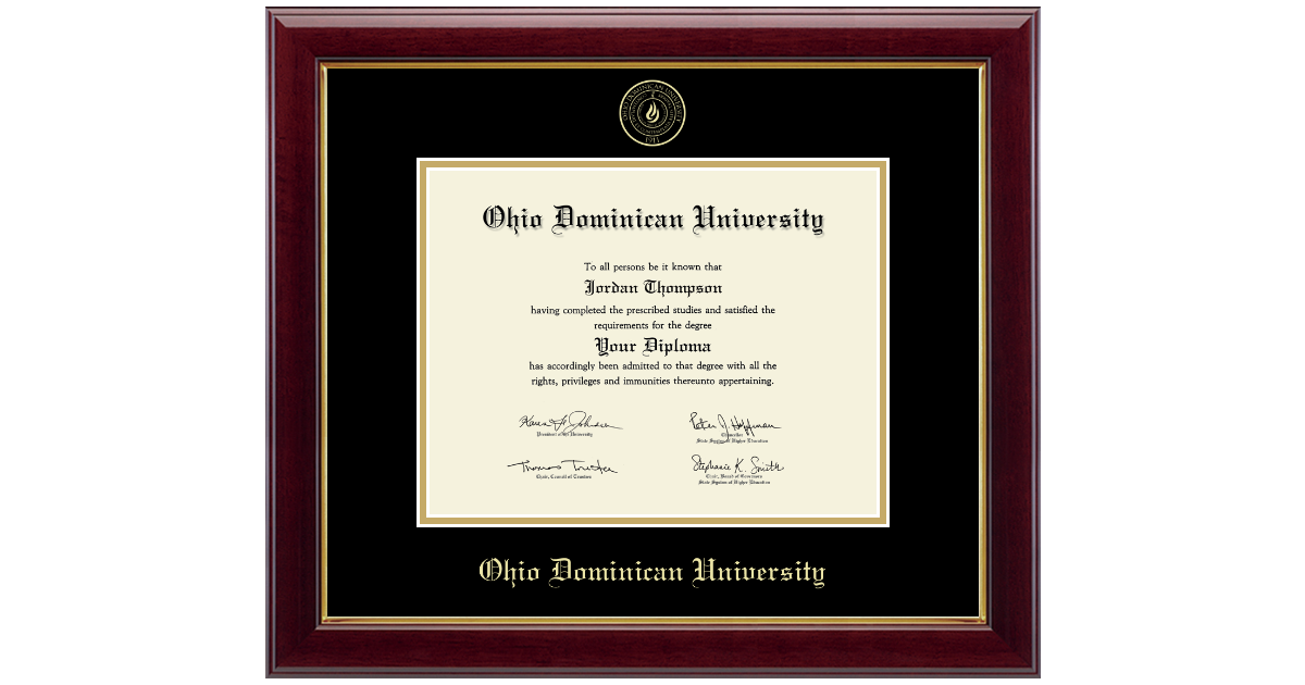 Ohio Dominican University Gold Embossed Diploma Frame In